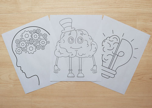 brain-themed coloring pages