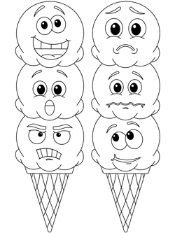 emotional ice cream coloring page